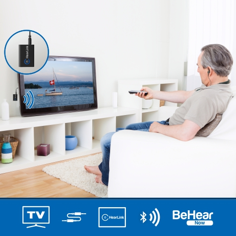 HearLink Bluetooth TV and Audio Transmitter with BeHear NOW Headset