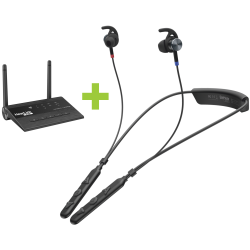 BeHear ACCESS personalizable hearing headset bundled with HearLink PLUS TV transmitter