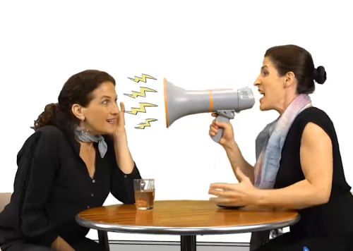 challenging conversation between girlfriends with megaphone