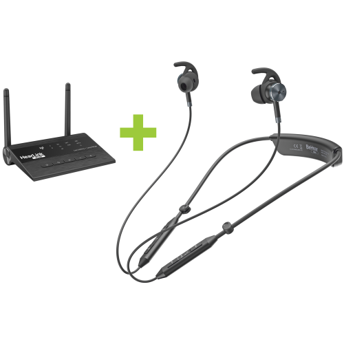 BeHear NOW assistive hearing headset and HearLink PLUS TV transmitter