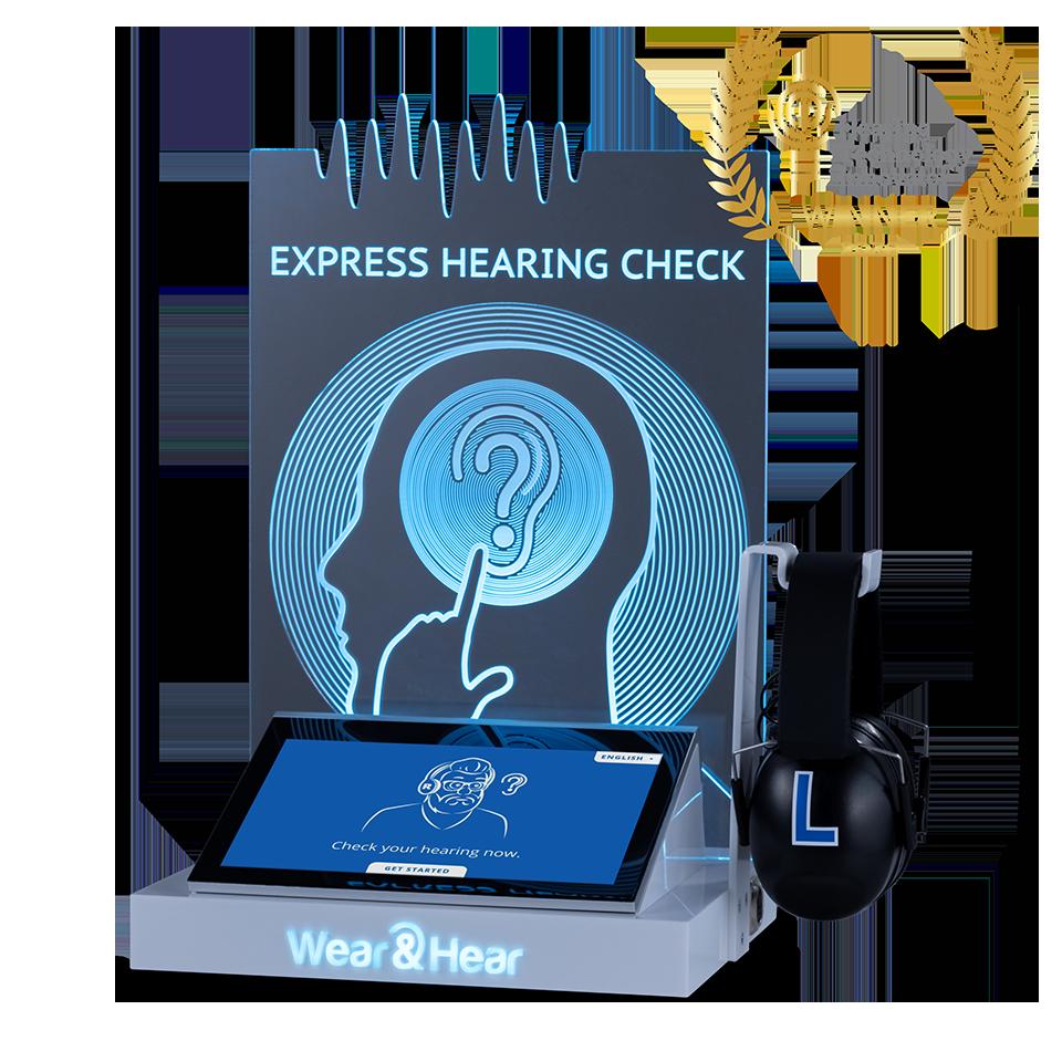 express hearing check kiosk with HTI award