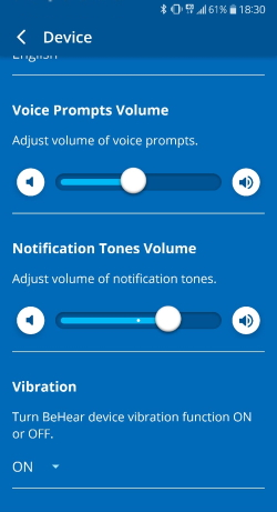 voice prompts volume vibration settings in W&H BeHear app