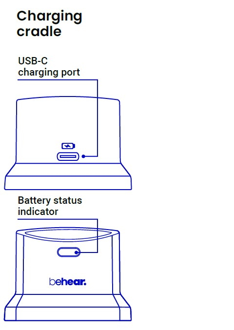 BeHear SMARTO personal amplifier charger mechanical diagram (front view)